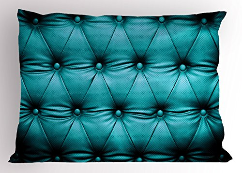 Ambesonne Turquoise Pillow Sham, Buttoned Couch Sofa Bed Headboard Leather Cover Luxurious Upholstery Artwork Print, Decorative Standard Queen Size Printed Pillowcase, 30 X 20 Inches, Teal - Standard Upholstery