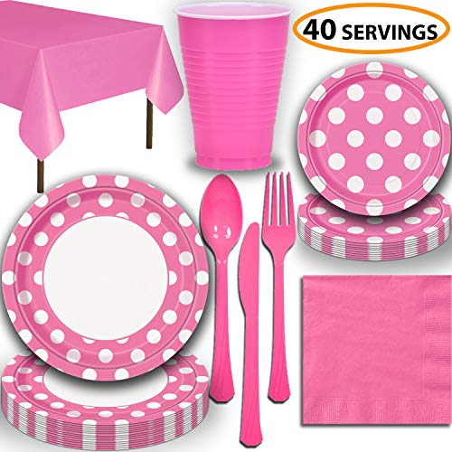 Disposable Tableware, 40 Sets - Hot Pink Dots - Dinner Plates, Dessert Plates, Cups, Lunch Napkins, Cutlery, and Tablecloths: Premium Quality Party Supplies Set ()