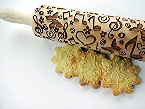SUMMER TIME Embossing Rolling Pin. Engraved rolling pin with flowers and butterflies for embossed cookies. Pottery. Musical notes
