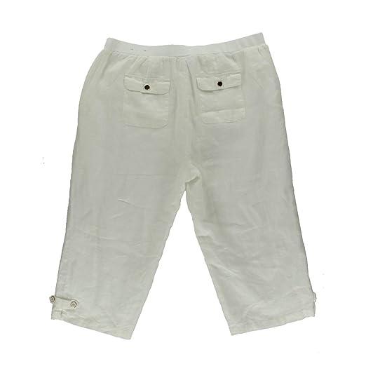 28f7116e57e Jm Collection Plus Size Linen Capri Pants 14w White at Amazon Women s  Clothing store