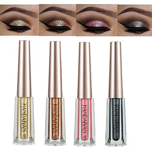 Diamond Liquid Eyeshadow 4 Colors Glitter Shimmer Eyeshadow Deep Stereoscopic Long Lasting Liquid Eyeshadow Set Matte Eye Shadow Sparkling Shimmer Eyes Makeup for Women Girl (4 Color A) ()