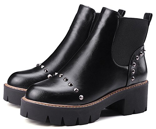 Ankle Martin Heeled Easemax Mid Toe Black Boots Short Stylish Round High Block Studded Women's 1w081qv