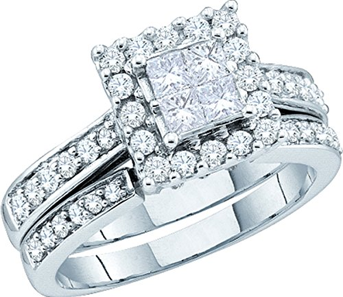 14kt White Gold Womens Princess Diamond Halo Bridal Wedding Engagement Ring Band Set 1/2 Cttw by JawaFashion