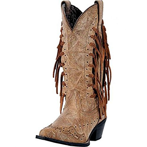 Laredo Womens Camel Tygress Leather Cowboy Boots 12in Tooled Fringe 11 M by Laredo