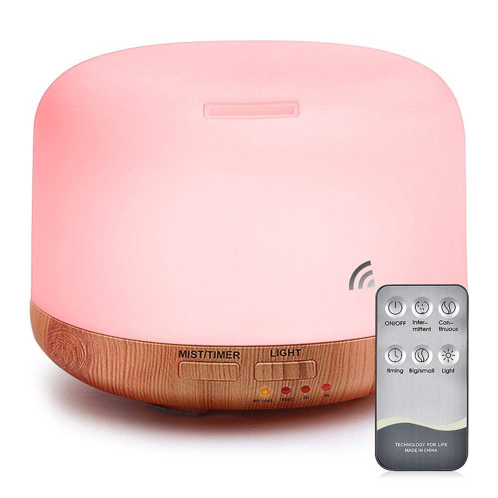 Essential Oil Air Mist Diffuser - Quiet Aroma Essential Oil Diffuser with Adjustable Cool Mist Humidifier Mode Waterless Auto-off 7 Color LED Lights for Office Home Bedroom Living Room (pink) by mixigoo
