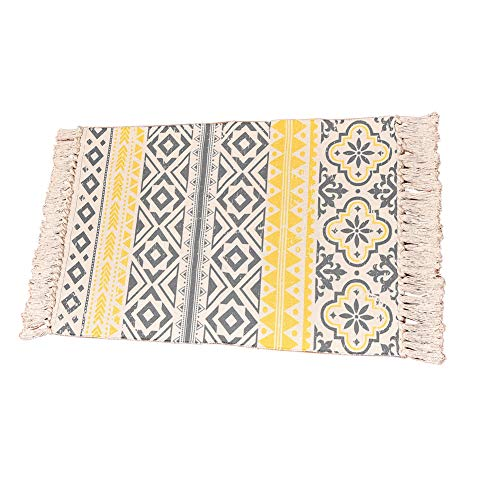 (Tassel Beige Woven Rug Runner Hand Knot Geometric Chindi Area Rug with Fringe, Machine Washable Floor Mat for Bedroom, Living Room, Kitchen, Laundry Room, Sofa-Style A 23.62