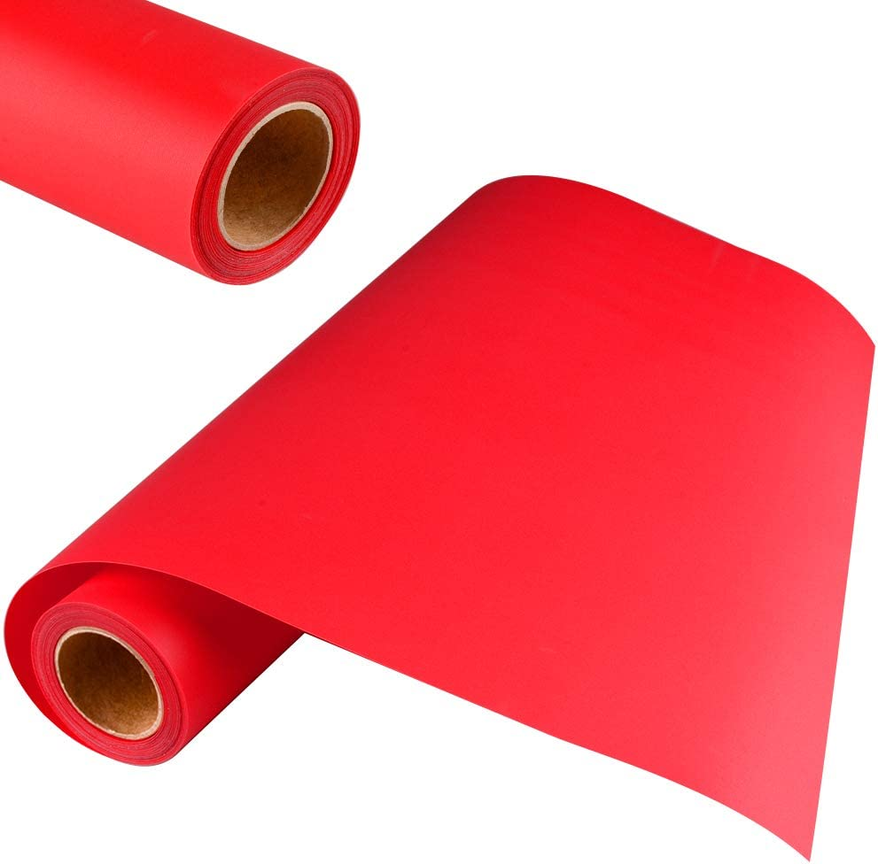 KISSWILL Heat Transfer Vinyl Red 12 inch x 6 Feet HTV Iron On T-Shirts Compatible with Silhouette Cameo or Cricut Heat Press Machine