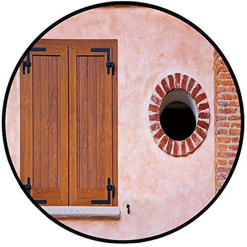 Printing Round Rug,Shutters Decor,Italian Style Old Window Renaissance Mediterranean Urban Life Style Artful Photo Mat Non-Slip Soft Entrance Mat Door Floor Rug Area Rug For Chair Living Room,Pink Bro