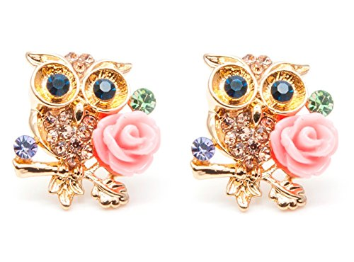 Sisfrog Crystal Rhinestone Gold Plated Owl Stud Earrings Charm Jewelry for Women and Girls, Birthday, Easter Gift
