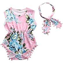 Xmas Apparel Baby-Girls Sleeveless Tassel Romper + Headband