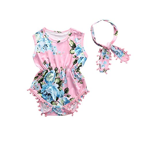 Cute Adorable Floral Romper Baby Girls Sleeveless Tassel Romper One-Pieces +Headband Sunsuit Outfit Clothes (6-12 Months, Pink)