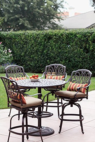 Darlee A/DL707-5PC-80F 5 Piece Patio Bar Height Dining Set, Antique Bronze Finish