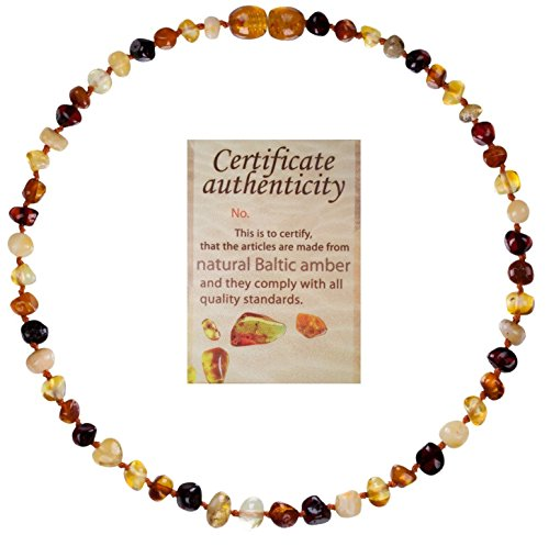 Mommys Touch 100% Natural Amber Teething Necklace (Multi-Color) - Anti-Inflammatory & Teething Pain Reducing Properties Unisex Necklace With Twist-in Screw Clasp