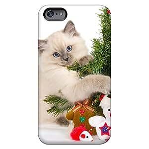 iPhone 5/5S golpes teléfono funda piel fotos casos gato abrazos Árbol de Navidad