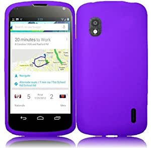 Purple Soft Skin Silicone Gel Case Cover For LG Nexus 4 E960 (T-Mobile)