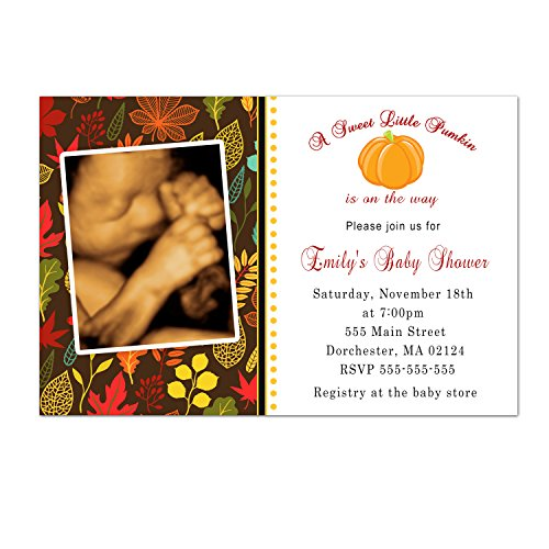 30 Invitations Fall Autumn Leaves Baby Shower Sprinkle Photo Invite Personalized Cards + 30 White Envelopes