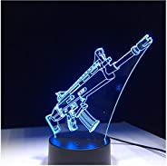 Night Lights Lamps Scar Gun Gift 7 Colors Touch Table Desk Light 3D Led Lava Lamp Acrylic Illusion Room Atmosp