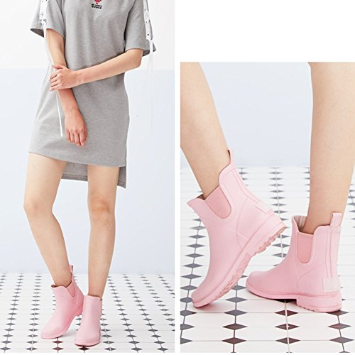 QIANDA Adult Rain Boots Women Water Shoes Rubber Additive Waterproof Spring And Summer, 3 Colors (Color : Gray, Size : 3UK/5US/35EU) Pink