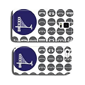 Bridges icons set. Illustration eps10 cell phone cover case Samsung S6