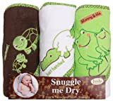 Frog/Alligator/Turtle Hooded Bath Towel Set, 3 Pack, Frenchie Mini Couture