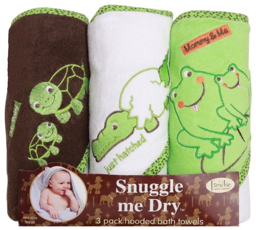 Infant Turtle Towels - Frog/Alligator/Turtle Hooded Bath Towel Set, 3 Pack, Frenchie Mini Couture