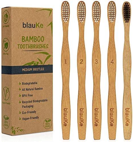 5 Cepillos de Dientes de Bambú Dureza Media: 4 Cepillos de Bambu con Cerdas Blancas + 1 Cepillo de Dientes con Cerdas de Carbón - Cepillos de Dientes de Madera, Biodegradables y