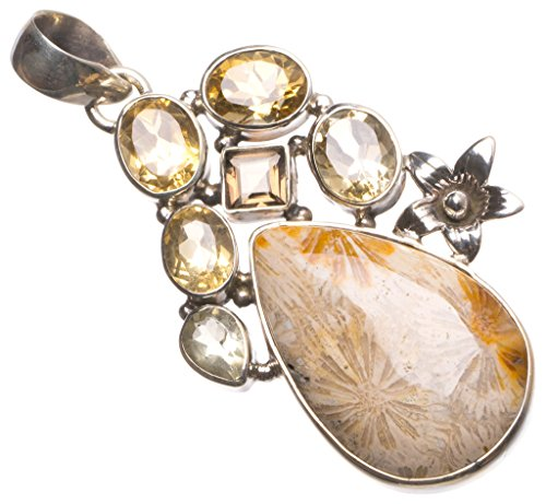 Natural Chrysanthemum Jasper,Citrine and Smoky Quartz 925 Sterling Silver Pendant 2.25