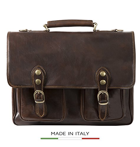 Luggage Depot USA, LLC Men's Alberto Bellucci Italian Leather Express Satchel D. Brn Laptop Messenger Bag, Dark Brown, One Size by Luggage Depot USA, LLC