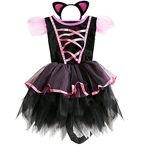 Little Girl Pageant Costume Cat Halloween Cosplay Holiday Party Dress Hair -
