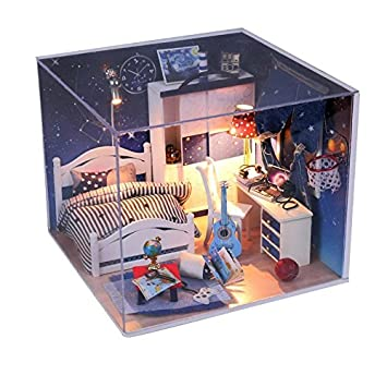 Wood Dollhouse Miniature Kit Diy Doll House Room With Furniture