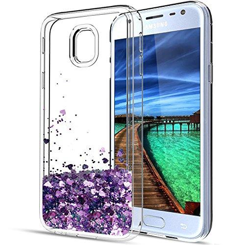 Funda Galaxy J5 2017 Carcasa para Samsung J5 2017 Case Anfire Suave Silicona Transparente Bling Lentejuelas Líquido Quicksand Flotante Moviendo Estrellas Gel TPU Protectora Caso para J5 2017 5.2 Aren Púrpura