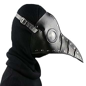 SHOLIND Medieval Steampunk Mask Plague Doctor Bird Mask Masquerade Cosplay Halloween Costume (Black)
