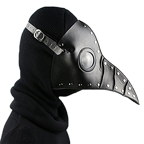 Black Plague Mask (SHOLIND Medieval Steampunk Mask Plague Doctor Bird Mask Masquerade Cosplay Halloween Costume (Black))