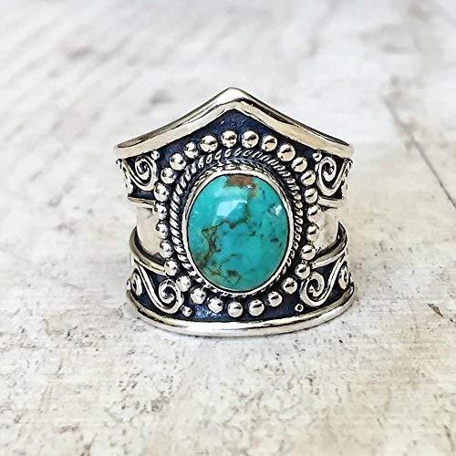 (Metmejiao Women Men 925 Silver Ring Gift Gemstone Turquoise Wedding Engagement Size 6-10 (7) )