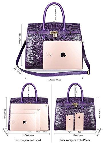 PIJUSHI Crocodile Handbags And Purses Satchel Office Padlock Handbag For Women 22130 violet by PIJUSHI (Image #3)