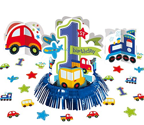 All Aboard! Birthday Party Assorted Table Decorating Kit, Multi Colored, Paper, Assorted sizes, 23-Piece - 1st Birthday Boy Party Decorations