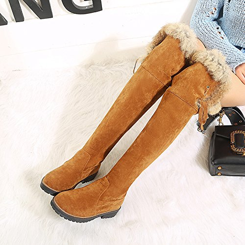 Boots Winter ZHZNVX Over Boots Toe Knee Buckle for Boots Casual Leatherette Fall Shoes Chunky Yellow Fashion Heel The Brown Dress Brown Round HSXZ Women's x8qO8npI