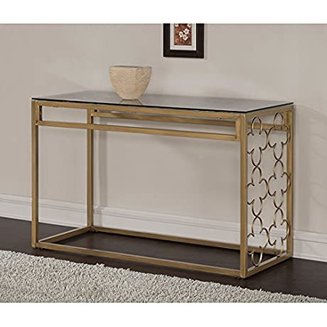 Quatrefoil Design Rectangular Goldtone Metal And Glass Sofa Table Scratch And Mark Resistant Is An Eye Catching Addition To Your Living Space
