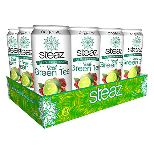 Steaz Organic Lightly Sweetened Iced Green Tea, 16 OZ (Pack of 12) (Lime Pomegranate)