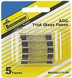 Buss bp/agc-7-1/2-rp agc glass type fuses 7.5 amp 5 /pk (BP/AGC-7-1/2-RP)