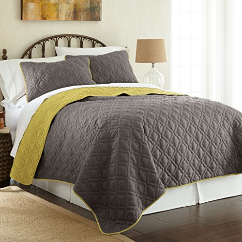 Amrapur Overseas | Lattice 3-Piece Reversible Quilted Coverlet Set (Steel Gray/Bamboo, Queen) - Bamboo Queen Quilted Coverlet