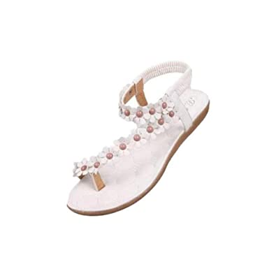85f0daf5d855e LuckUk Womens Sandals Ladies Sandals Womens Fashion Sweet Summer Bohemia  Sweet Beaded Sandals Clip Toe Sandals