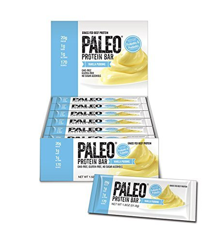 Paleo Protein Bar, Vanilla Pudding, Pack of 24 (12 x 2 cases), 2 oz (56.8g) (1 Protein Pudding Case)