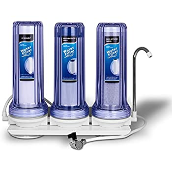 Three Stages Countertop Drinking Water Filtration System Removes Chlorine with Polypropylene Sediment Filter, Granular Activated Carbon Filter and Block Activated Block Filter, Transparent Housings