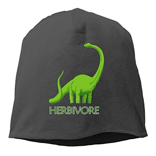 Stretch Mens Beanie (Herbivore Dinosaur Unisex Knit Hat Soft Stretch Beanies Skull Cap Hedging Cap Black)
