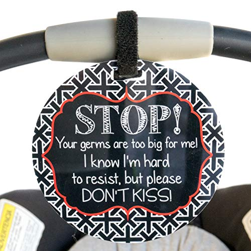 No Kissing Tag - Stop, Your Germs Are Too Big For Me, I Know I'm Hard To Resist But Please Don't Kiss (Baby Car Seat Tag, Baby Shower, Stroller Tag)   ()
