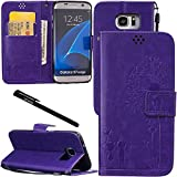 Urvoix Galaxy S7 Edge Case, Credit Card Holder Leather Cover Embossed Romantic Dandelion Folio Case for Samsung Galaxy S7Edge (2016), Purple For Sale