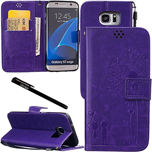 Urvoix Galaxy S7 Edge Case, Credit Card Holder Leather Cover Embossed Romantic Dandelion Folio Case for Samsung Galaxy S7Edge (2016), Purple For Sale