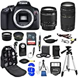 Canon EOS Rebel T6 DSLR Camera with EF-S 18-55mm f/3.5-5.6 IS II Lens EF 75-300mm f/4-5.6 III Lens Zoom Lenses Black (1159C008) USA - Full Accessory Basic Bundle Package Deal