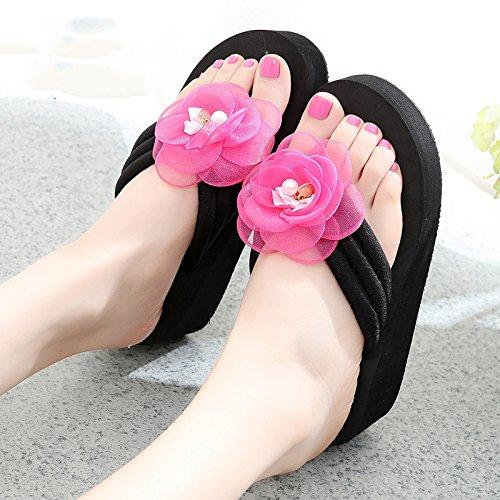tacón de cómodo tamaños de MEIDUO alto 6 Chanclas 1003 playa verano con sandalias Zapatillas resbaladizas Zapatos femenino de Zapatillas gw7zp